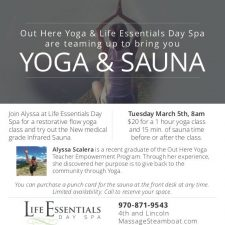 Yoga Ad for Life Essentials Day Spa