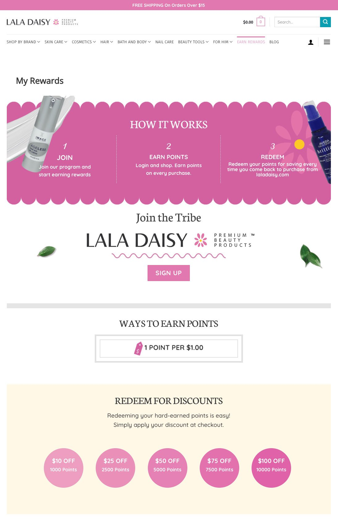 La La Daisy My Rewards Page Design