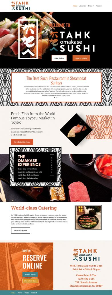Tahk Omakase website design