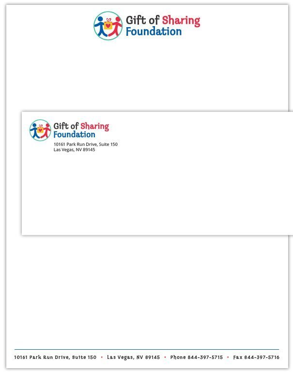 Gift of Sharing Foundation Letterhead and Envelope design