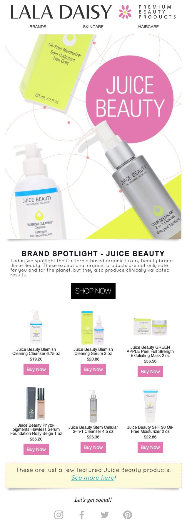 Juicy Beauty Email Design