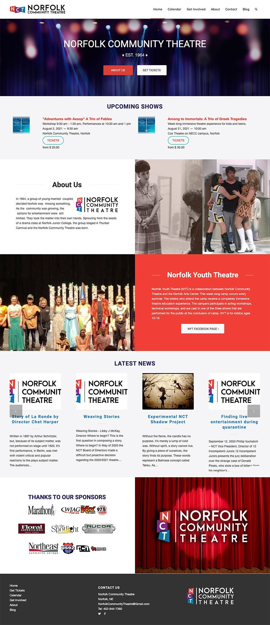 Norfolk Community Theatre Website Design